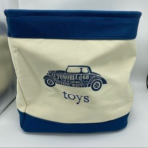 TOYS collapsable bin blue off white w/ car